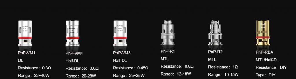 Resistances PnP Voopoo pour cigarette electronique | Gamme de résistance pour vapotage en aérien, restritif ou indirect