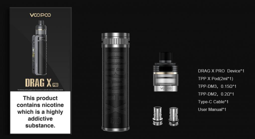 Cigarette electronique Drag X Pro de Voopoo | Ecigarette pour un vape DL | Vapoter avec ou sans nicotine